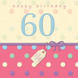 Happy Birthday Card 60 -With Swarovski Crystal  Dotty Days